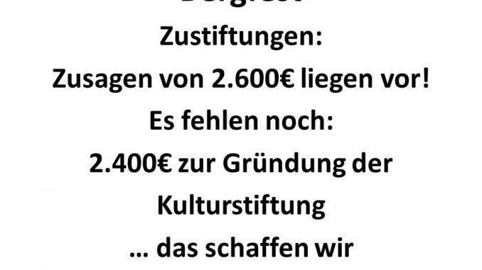 Bergfest: 2.600 von 5.000€ erreicht!